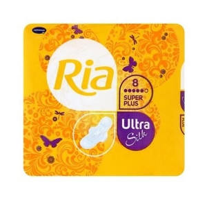 RIA Ultra Silk Super Plus / Риа Ультра Силк Супер Плюс - Гигиенические женские прокладки, 8 шт.